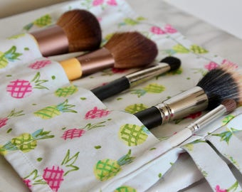 Pineapple Makeup Brush Roll in Neon Pink and Green