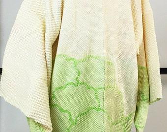 K166 Japanese White Soshibori Eba-Haori Kimono Jacket Vintage