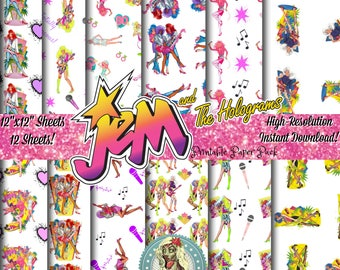 Jem and the Holograms Digital Paper Pack, Scrapbook Paper, Digital Scrapbooking, Scrapbook Pages, Scrapbook Kit, 80s toys, 80s Theme Party