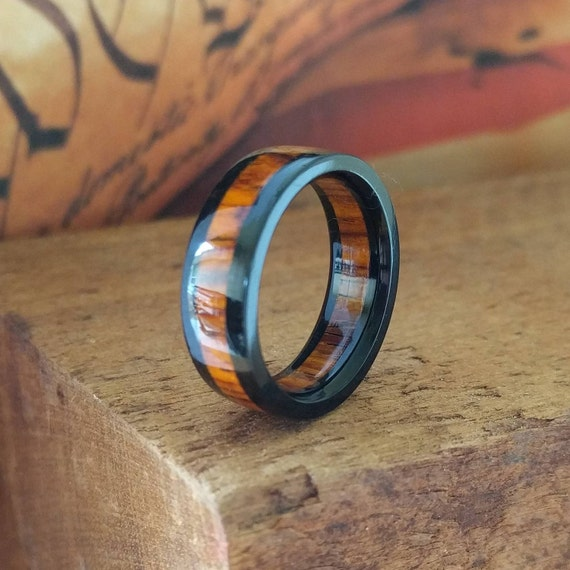 Cocobolo and Ebony Wood Ring - Mens Wooden Ring  Mens Wedding Band  Engagement Ring  Anniversary Gifts for Men  Ebony Wood Ring