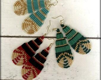 Looped Earrings | Seed bead Earrings |Nickel Free | Gift for her | Red Black | Green  | Blue Earrings | Long Earrings | Spring Earrings