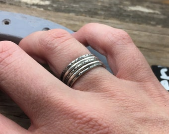 Made to Order Silver Stacking Ring Set -  Sterling Silver Rings - Skinny Stacking Rings - Mixed Textured Rings - Thin Rings
