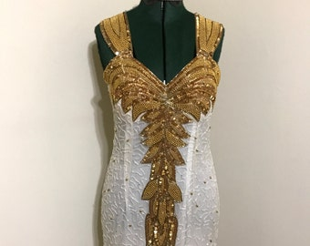 Gold & white sequin party dress