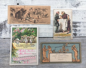 Lot of Vintage Advertising Cards, Vintage Sunday School calendar 1899, Vintage Paper, XXXX Coffee, victorian trade card, ephemera, scrapbook