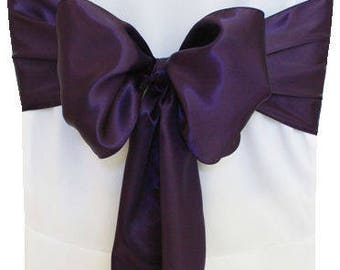"""7""""X108"""" Plum Satin Sashes Chair Cover Bow Sash WIDER FULLER BOWS Wedding Party"""