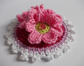 Button with crochet flowers - 10 cm