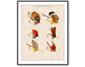 Bass Fishing Flies Antique Print Fishermen Fly Fishing Lures Angling Fish Hooks Bait Vintage Feather Fly