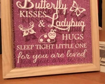 Butterfly kisses and ladybird hugs box frame and nightlight