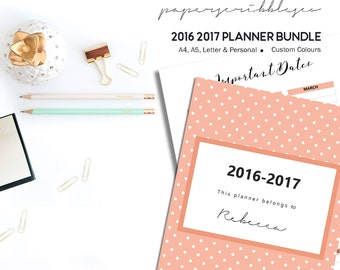 2017 Planner, A5 Planner Insert, Printable Planner,  Month on Two Pages, Custom Color, Week on Two Pages, Daily Planner