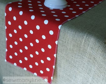Red Polka Dot Table Runner Dining Room Home Decor Linens Birthday Party Table Decor Red and White Runner