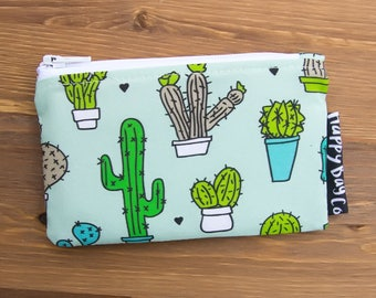 "SALE Ready to Ship! 5"" x 3"" Cactus Wallet - Zipper Pouch - Coin Purse - Cactus Bag - Change Purse - Coin Wallet - Mini Wallet"