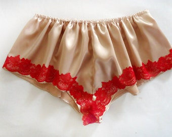 Burgundy french knickers, satin knickers, satin panties, red lingerie, lingerie,