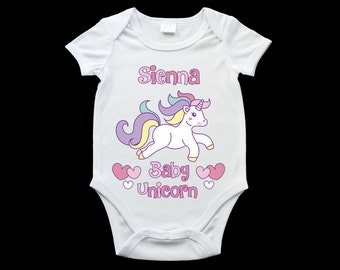 Personalised Baby unicorn baby onesie, cute baby unicorn onesie, unicorn gift, personalised onesie
