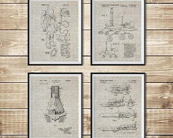 Outer Space Decor, Patent Print Set, NASA Poster, Rocket Wall Decor, Outer Space Poster, Outer Space Patent, Nasa Decor, INSTANT DOWNLOAD