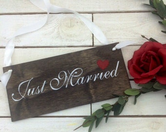 "Just Married Sign-Wedding Just Married Sign-Rustic Just Married Sign-Country Chic Sign-12"" x 5.5"" Sign"