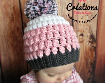 Cupcake puffs baby crochet hat, photo shoot props, pompom, pink, white, grey, yarn, hand crocheted, shower gift, baby shower, baby gift