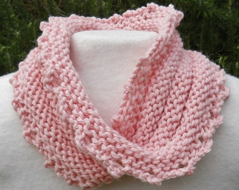 hand knit light pink alpaca and wool mobius cowl