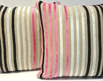 "Cushion cover pink stripes Eijffinger Pillow cover Decorative Pillow Linen Velvet 16""x16"" or 40cmx40cm"