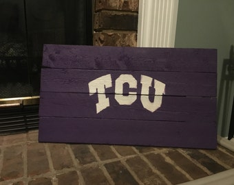 """FREE SHIPPING - Wooden TCU Horned Frogs sign - 12"""" x 23"""" - College Flag"""