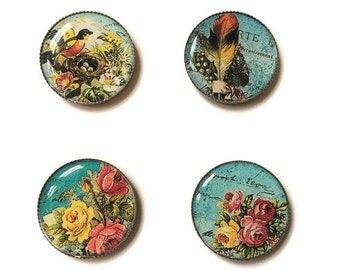 Shabby Chic magnets or shabby chic pins, flower magnets, flower pins, fridge magnets, office magnets, refrigerator magnets