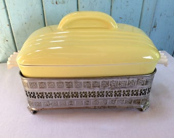 Vintage Hall China Covered Dish with Pierced Tin Serving Stand, Westinghouse, Mid Century Refrigerator Dish, 1950's