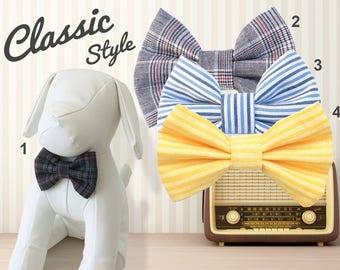Classic Retro Plaids Stripes Dog Bow Tie, blue gray yellow