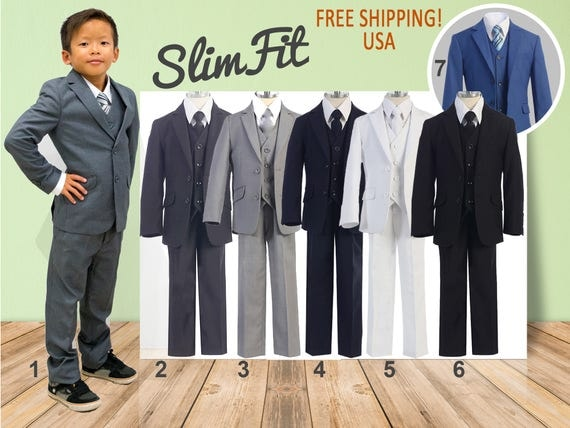 Premium Boys Slim Fit 5-Piece Suit Gray Navy White Black