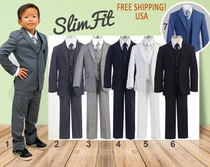 Featured listing image: Premium Boys Slim Fit 5-Piece Suit, Gray Navy White Black Royal Blue, Baptism Christening Wedding Ring Bearer Homecoming Prom