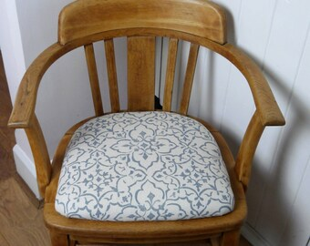 SOLD! Vintage Oak Captains Chair - Reupholstered Seat in Blue/Cream 100% Linen