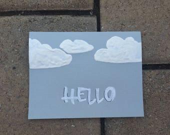 Fluffy Cloud Greeting Card - Hello