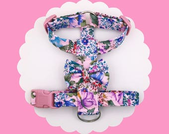 Pink Patchwork Flowers & Bow Dog or Puppy Harness