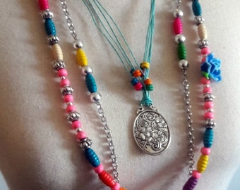 Boho colorful multi strand necklace wooden beaded,  Multi color Ibiza style long necklace, Hippie fantasy chain