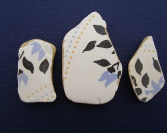 Genuine ceramic with floral pattern, 3 PCs-genuine sea pottery-eco-friendly supplies for jewelry-supplies-beach combed