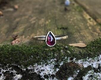 Sterling Silver Raindrop Garnet Ring