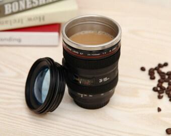 Camera Lens Shape Travel Mug