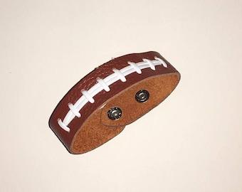 "Brown Grain Leather Football Seam Bracelet Wristband 7.25"""