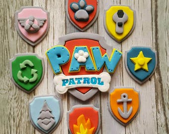 Edible Paw Patrol 9cm Cake Topper  and 8 x Cupcake Topper Shields