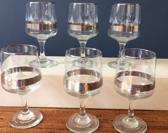 Set of retro wines glasses - retro barware - vintage silver patterned wine glasses - set of six wine glasses with original box