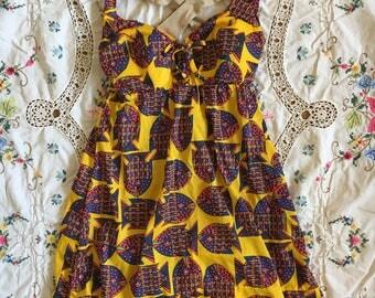 Vintage 1970s  Yellow Print Tankini Swimsuit XS