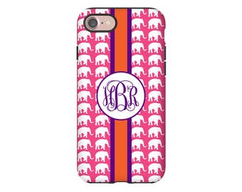 Monogram iPhone 7 case, elephants iPhone case,  iPhone 7 Plus case, iPhone SE case, elephant iphone 6s case/6s Plus/6/6 Plus/5s case