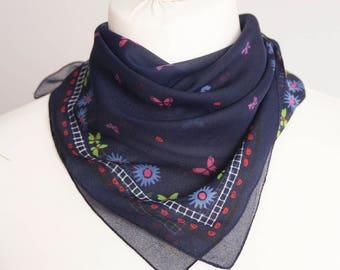"vintage Small scarf, retro square scarf, silk scarf women scarf shawl kerchief 52cm / 21"" blue navy red floral shhher chiffon"