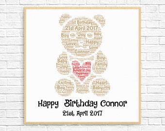 PERSONALIZED 1st Birthday Gift ~ Printable Art ~ First Birthday - 1st Birthday Boy ~  Baby Boy Gift ~ Teddy Bear ~ Word Art