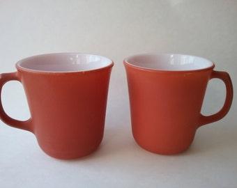 Vintage Burnt Orange Pyrex Mugs, Pyrex Coffee Cups, Burnt Orange Decor, Vintage Corning Ware, Vintage Coffee Mugs, Vintage Kitchen Decor