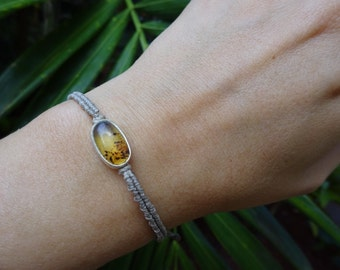 macrame sterling silver bracelet with amber
