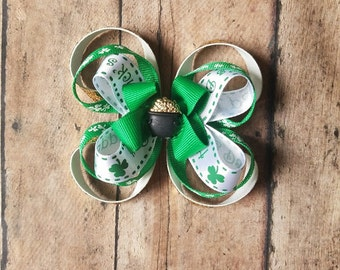 St. Patrick's Day Hair Bow // Gold Glitter // Holiday Bow // Toddler Headband