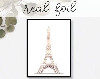 Eiffel Tower Print // Real Gold Foil // Minimal // Gold Foil Art // Home Decor // Modern Office Print // Paris France // Landmark // World