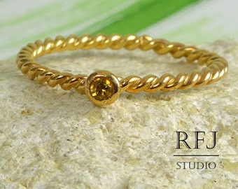 Natural Citrine Rope Rose Gold  Ring, November Birthstone 2mm Round Cut Yellow Citrine Braided 14 K Rose Gold Plated Ring Rose Gold Ring