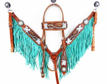Teal Floral Fringe Leather Show Headstall Western Horse Trail Barrel Racing Bridle Breast Collar Plate Tack Set