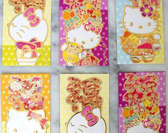 Hello Kitty Japanese Floral Cute Kawaii Long Tall Red Packet / Red Envelope / Money Envelope / Lai See for Lunar New Year (Qty 6) [RHK12]