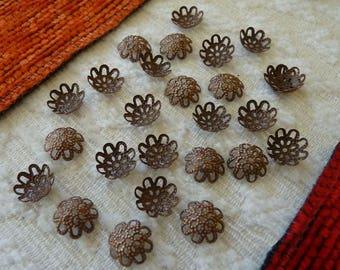 10mm Copper Bead Caps, Flower Bead Caps,  Copper Plated Filigree Bell Bead Caps, Ornate Bead Caps, Metal Bead Caps, Beading Supplies